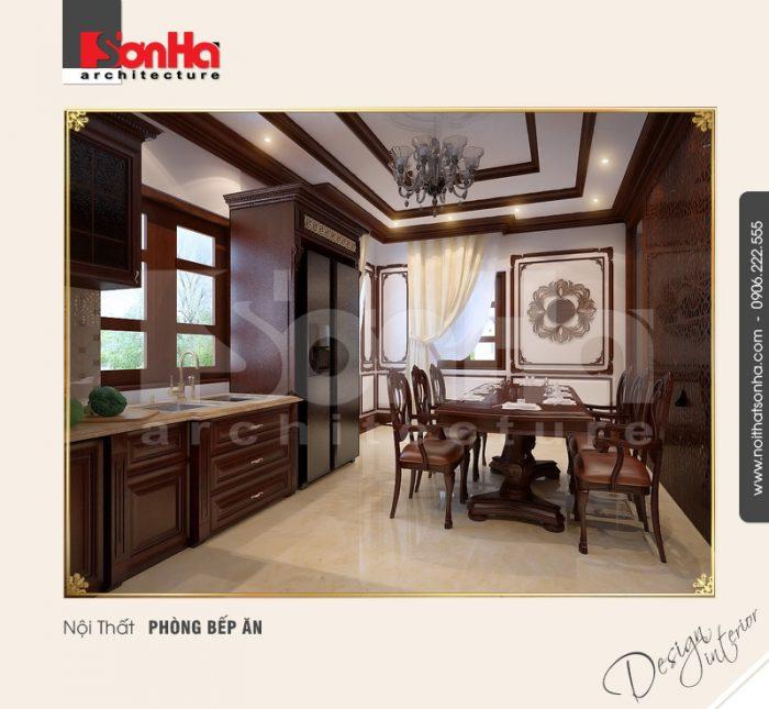 Thiết kế nội thất phòng bếp ăn phong cách cổ điển giản dị nhưng vẫn sang trọng và ấm cúng