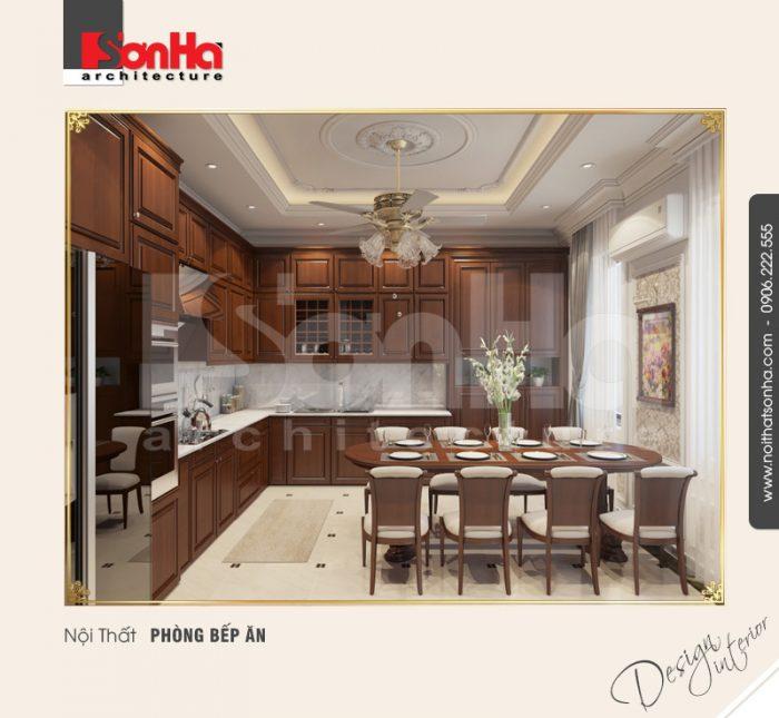 Thiết kế nội thất phòng bếp ăn kiểu cổ điển ấm áp với gam màu trầm ấm tinh tế
