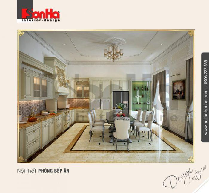 Mẫu phòng bếp ăn cổ điển đẹp trong thiết kế nội thất biệt thự phong cách cổ điển sang trọng