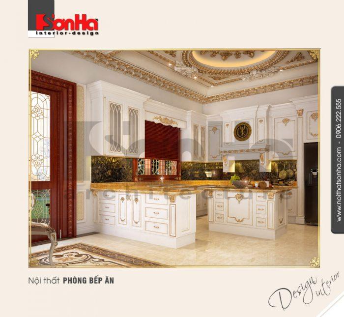 Phương án thiết kế nội thất phòng bếp ăn phong cách cổ điển của biệt thự lâu đài vương giả