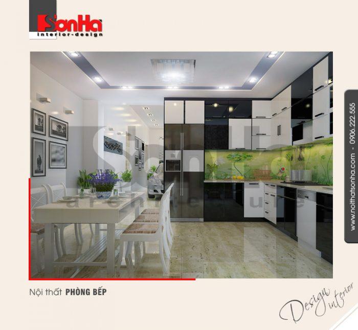 Đây cũng là một trong những điển hình của phương án thiết kế nội thất bếp ăn chung cư đẹp