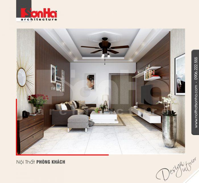 Toàn bộ góc nhìn của phương án thiết kế nội thất phòng khách đẹp của căn hộ hiện đại
