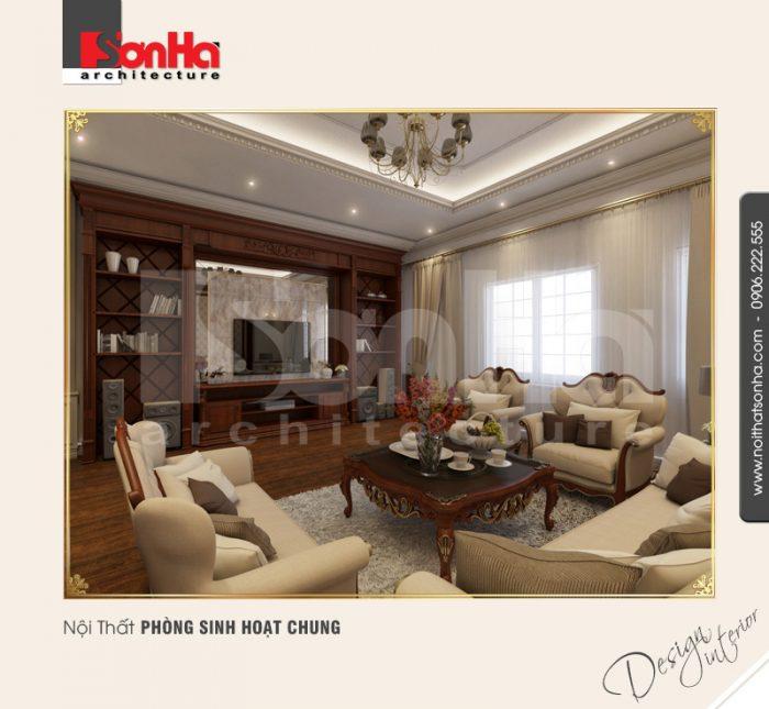 Không gian nội thất phòng sinh hoạt chung được linh hoạt điểm chi tiết giấy dán tường