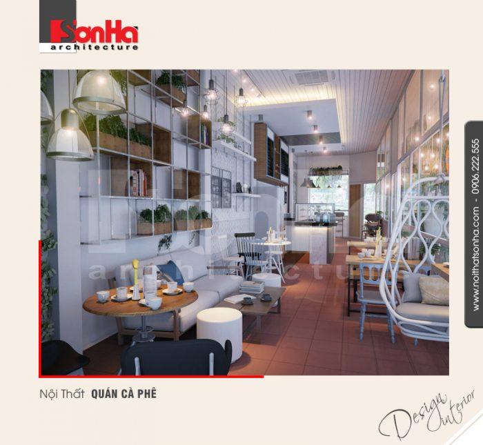 Thiết kế nội thất café đẹp với việc sử dụng thích hợp loại trần và màu sắc hợp thời