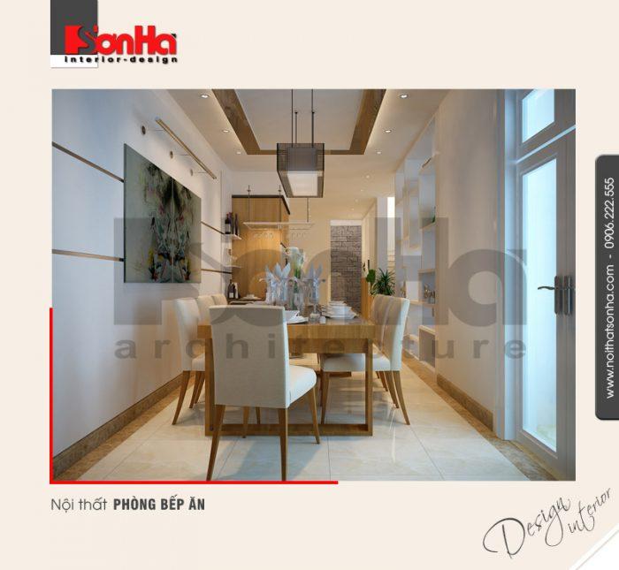 Cách bố trí không gian nội thất phòng bếp ăn đẹp trong diện tích biệt thự hạn chế ngang dọc