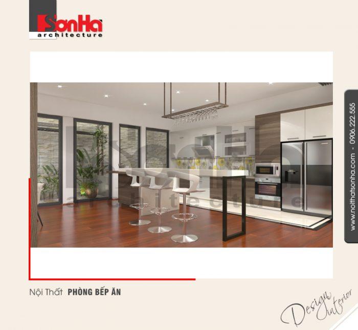 Góc bố trí phòng bếp ăn khoa học trong không gian nội thất biệt thự hiện đại điển hình 2018