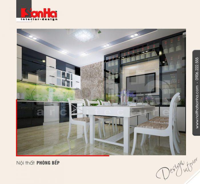 Màu sắc được sử dung trong thiết kế phòng bếp ăn chung cư khá hợp thời và thoáng đãng