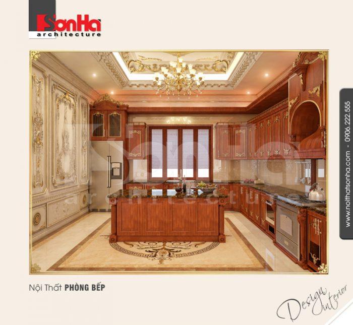 Thiết kế nội thất phòng bếp ăn được đánh giá cao với việc sử dụng phào chỉ PU