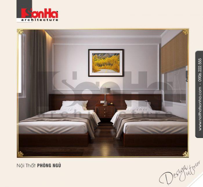 Mẫu thiết kế phòng ngủ khách sạn 3 sao ấm áp với sàn gỗ được lựa chọn đúng cách