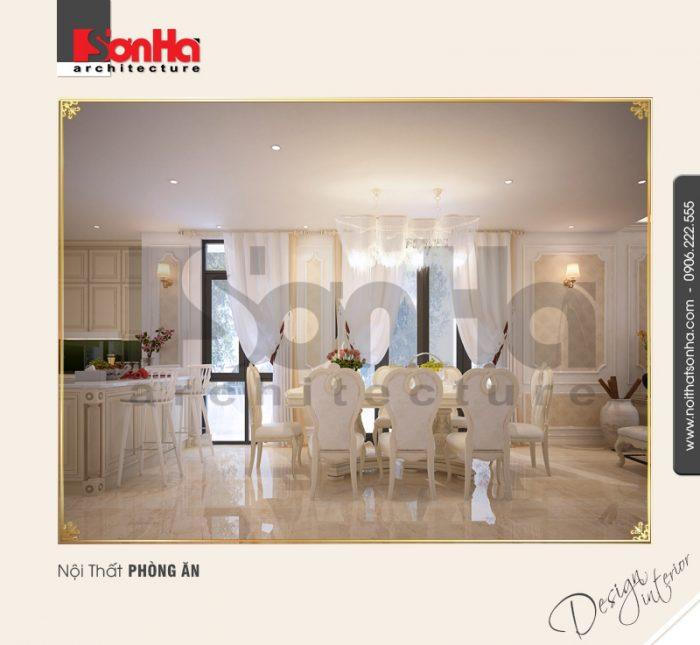 Không gian phòng ăn của biệt thự cổ điển 3 tầng tràn ngập ánh sáng với nội thất đầu tư đẹp