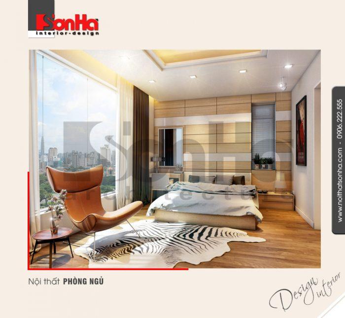 Mẫu thiết kế nội thất phòng ngủ phong cách hiện đại của biệt thự cao cấp rất được yêu thích