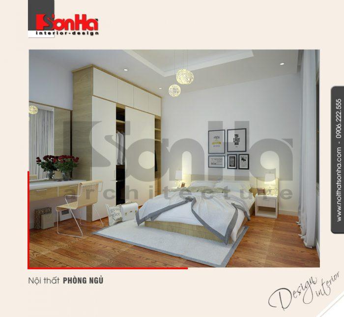 Các màu sắc và chi tiết được kết hợp hài hòa làm nên mẫu phòng ngủ căn hộ hiện đại đẹp
