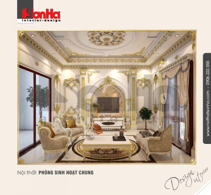 Thiết kế nội thất phòng sinh hoạt chung với phong cách cổ điển sang trọng từng tiểu tiết