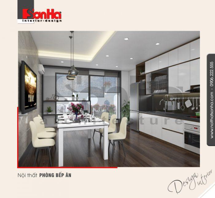 Phòng bếp ăn hiện đại nhỏ xinh của chung cư sở hữu view đẹp với cách bố trí thoáng đãng