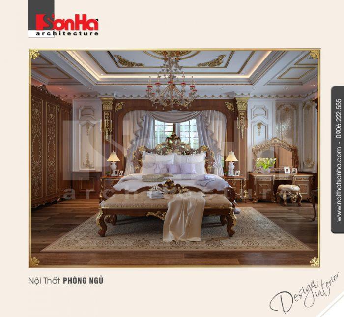 Sự xa hoa và lộng lẫy được thể hiện một cách tinh tế trong thiết kế nội thất phòng ngủ cổ điển