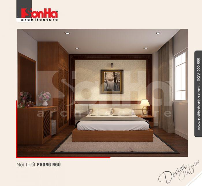 Vật liệu lát sàn được chọn cho phòng ngủ khách sạn này là gỗ công nghiệp chất lượng cao