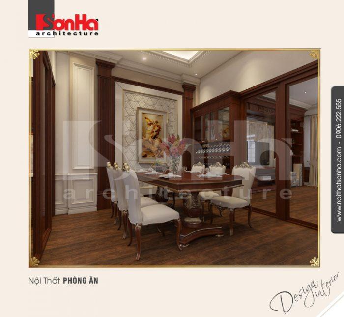 Phòng bếp ăn biệt thự cổ điển được bố trí nội thất cao cấp màu sắc hài hòa và khá tinh tế