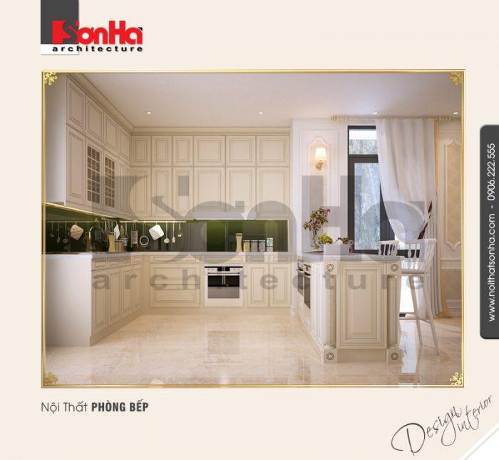Cận cảnh không gian phòng bếp ăn với thiết kế nội thất tủ bếp chữ U sang trọng và tiện nghi