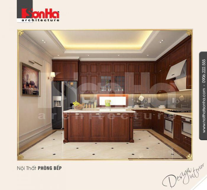 Mẫu thiết kế phòng bếp ăn chung cư cổ điển xa hoa với đồ nội thất gỗ được yêu thích nhất