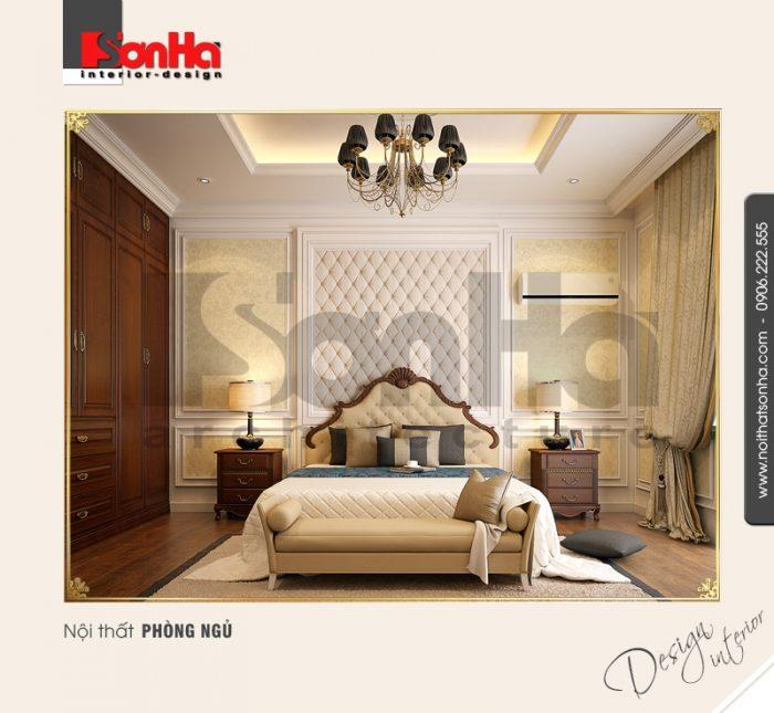 Một trong những điển hình của mẫu thiết kế nội thất phòng ngủ căn hộ kiểu cổ điển tinh tế