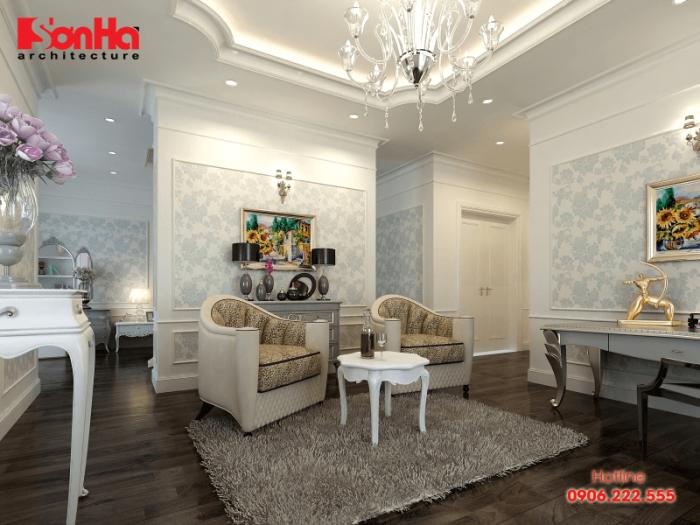 Thiết kế nội thất phòng khách đẹp phong cách cổ điển với giấy dán tường tinh tế