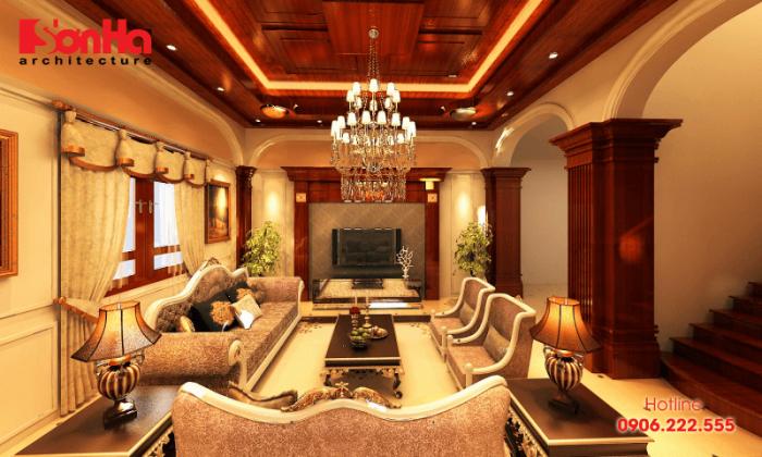 Không gian nội thất phòng khách cổ điển sang trọng với ánh sáng phù hợp