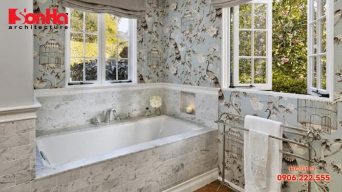 Loại giấy dán tưởng phổ biến trong thiết kế nội thất phòng tắm sang trọng