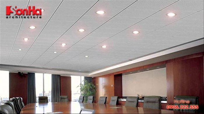 Mẫu trần thạch cao được ứng dụng trong thiết kế nội thất văn phòng và thi công