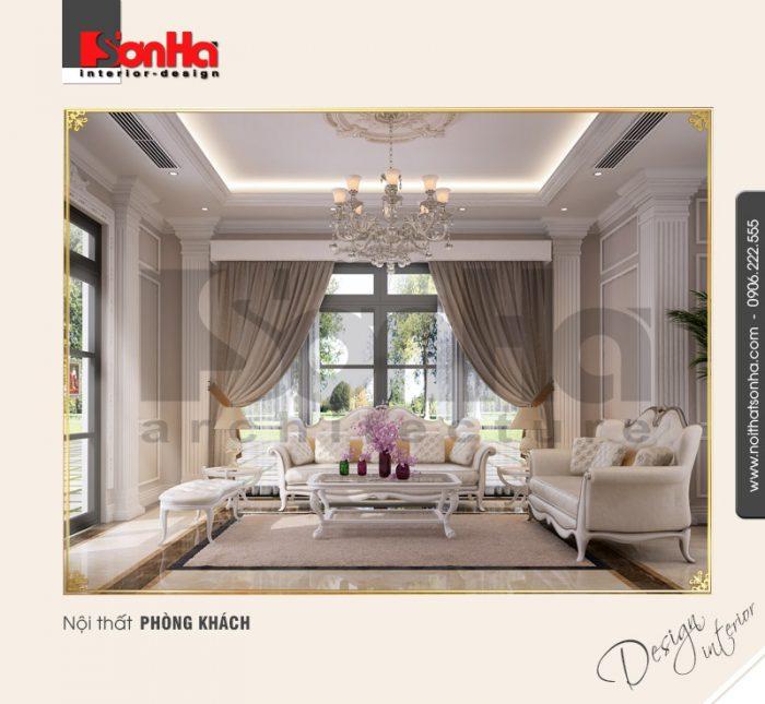 Mẫu thiết kế phòng khách biệt thự cổ điển sang trọng đẳng cấp với gạch men lát sàn cao cấp