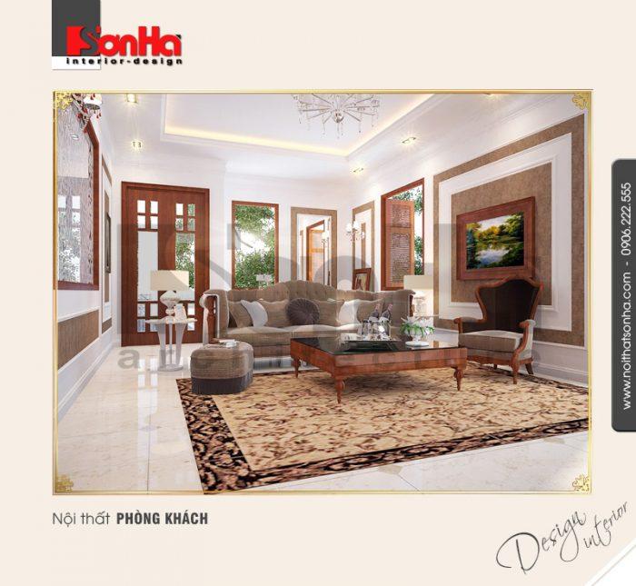 Mẫu thiết kế nội thất phòng khách biệt thự mang phong cách cổ điển Châu Âu sang trọng