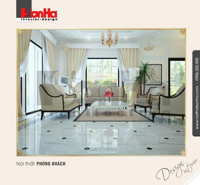 Mẫu phòng khách cổ điển biệt thự kiểu Pháp đẹp với tone màu sáng và vật dụng cao cấp