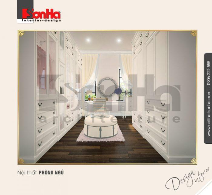 Góc view phòng thay đồ cho thấy sự tiện nghi trong thiết kế nội thất biệt thự kiểu cổ điển