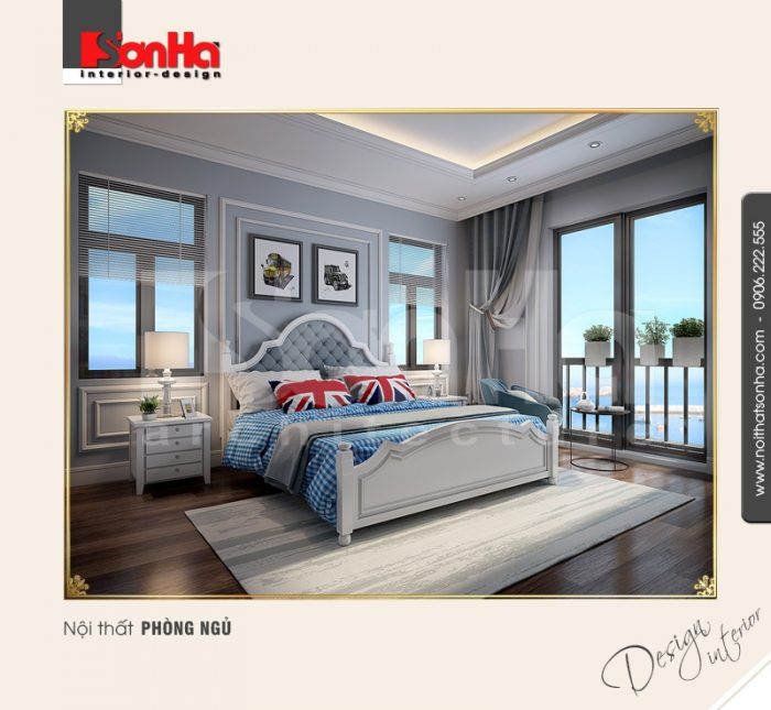 Thiết kế nội thất phòng ngủ 2 biệt thự Pháp tại khu đô thị Vinhome Imperia Hải Phòng