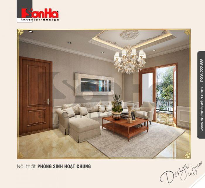 Không gian nội thất phòng sinh hoạt chung của biệt thự phong cách tân cổ điển sang trọng