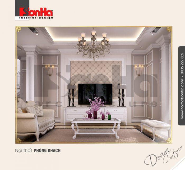 Mẫu Thiết kế nội thất phòng khách biệt thự Pháp tại khu đô thị Vinhome Imperia Hải Phòng