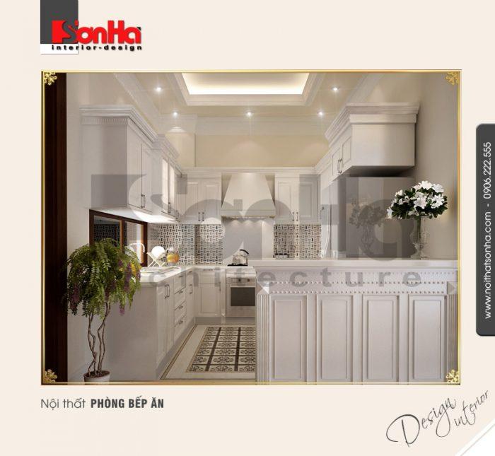 Mẫu thiết kế nội thất phòng bếp biệt thự sang trọng với vật liệu gạch lát nền cao cấp
