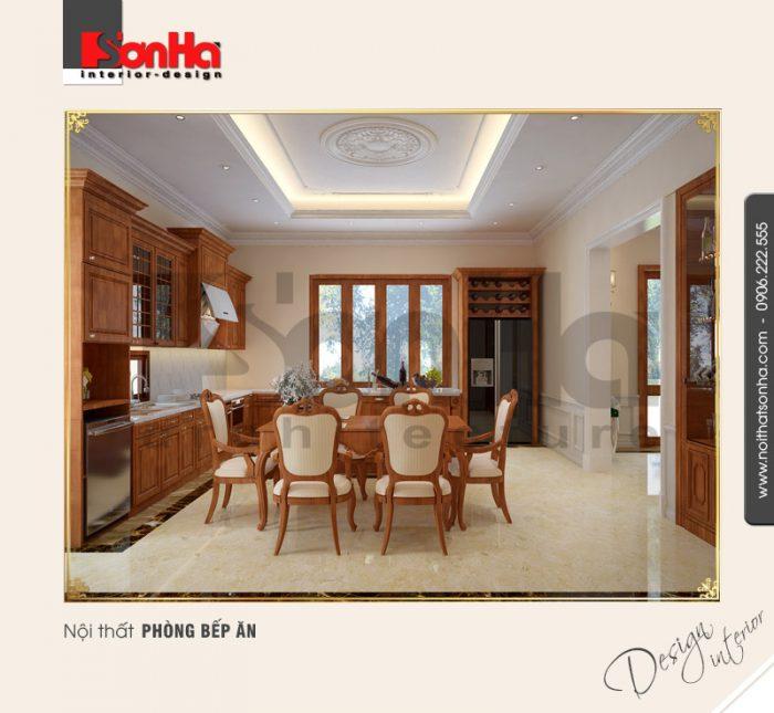 Từ mọi góc view đều có thể cảm nhận được sự thoáng đãng trong thiết kế phòng bếp biệt thự