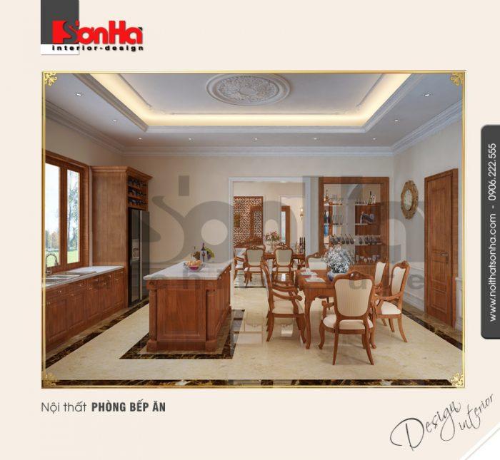 Phương án thiết kế nội thất phòng bếp ăn biệt thự tân cổ điển nổi bật với đồ nội thất gỗ cao cấp