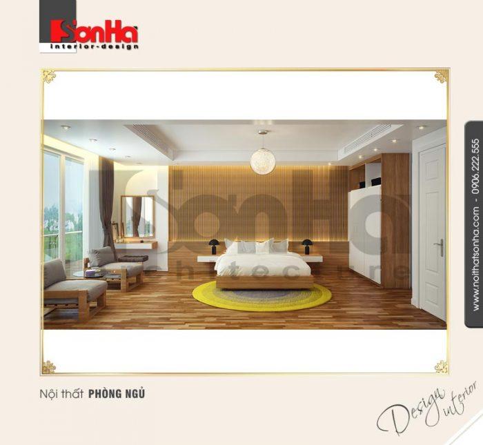 Mẫu thiết kế phòng ngủ khách sạn xa hoa với đồ nội thất cao cấp và vật liệu lát sàn chất lượng