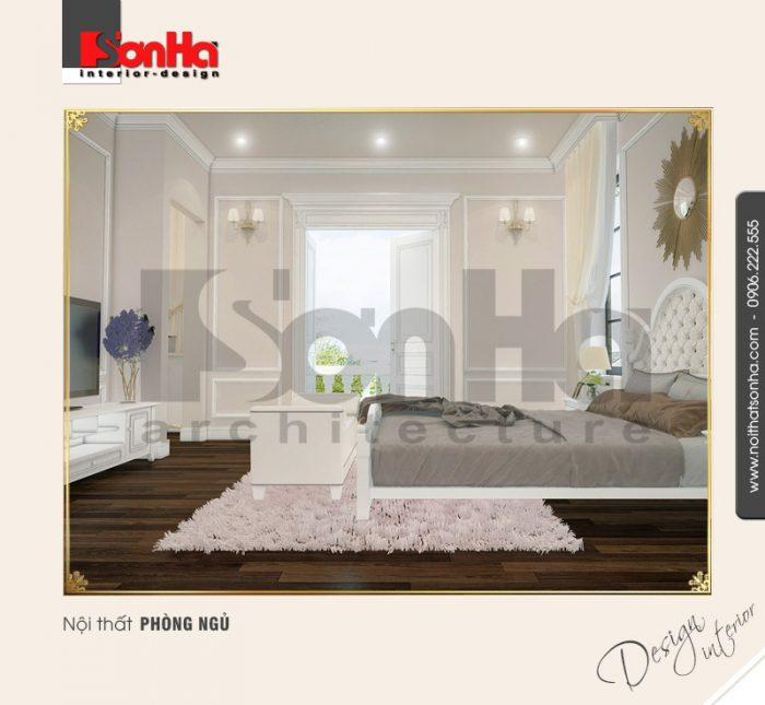 Mẫu thiết kế nội thất phòng ngủ thanh nhã trong không gian nội thất biệt thự cổ điển châu Âu