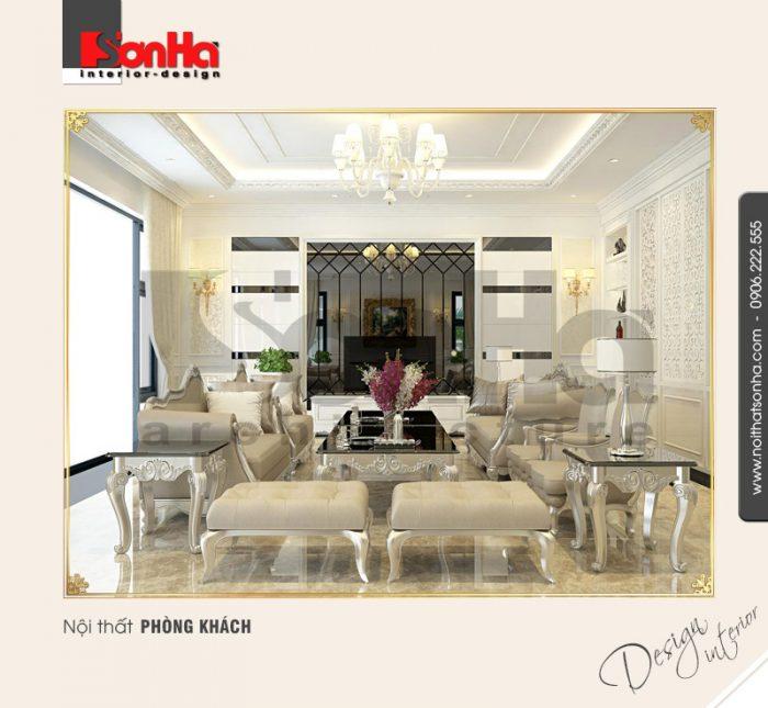 1.Thiết kế nội thất phòng khách biệt thự cổ điển tại quảng ninh NT BTD 0034