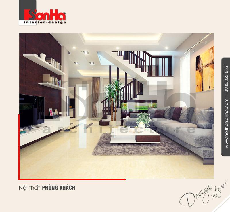 1.Thiết kế nội thất phòng khách biệt thự hiện đại tại quảng ninh NT BTD 0019