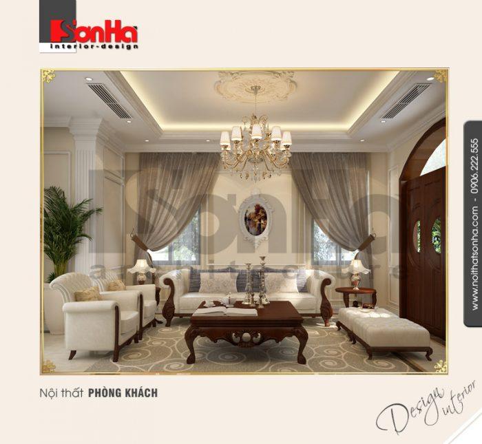 1.Thiết kế nội thất phòng khách kiểu tân cổ điển tại vinhomes imperia hải phòng