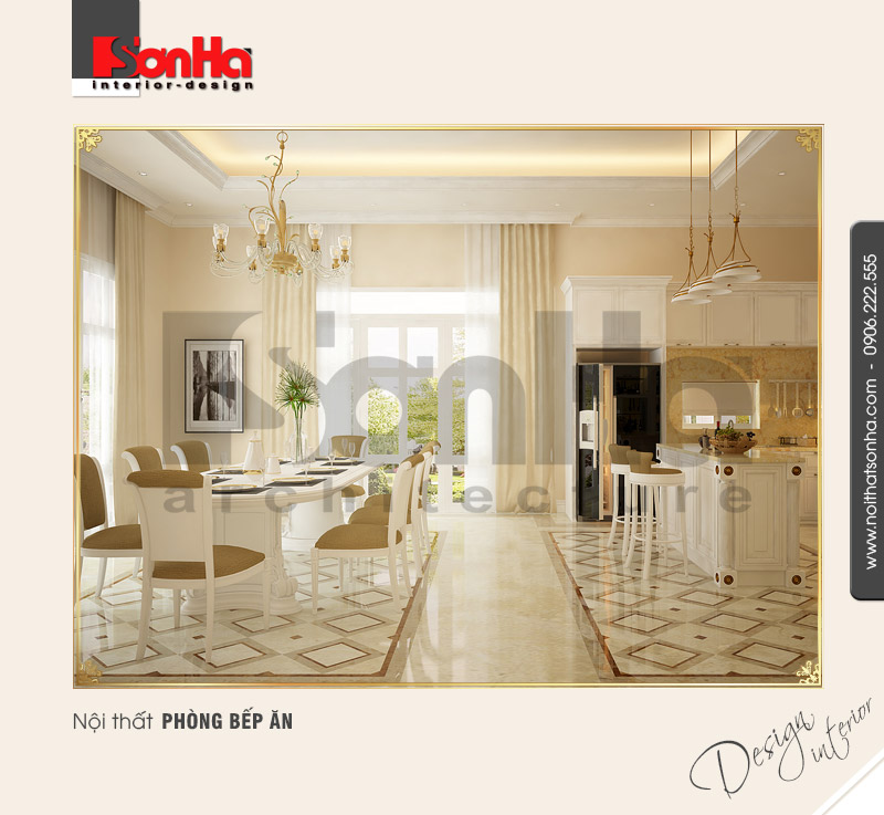 2.Mẫu nội thất phòng bếp ăn cổ điển tại nha trang NT BTD 0023