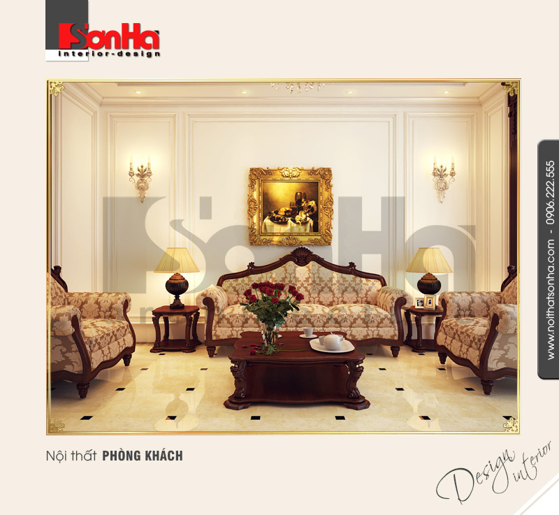 1.Hồ sơ thiết kế nội thất phòng khách tân cổ điển bắt mắt