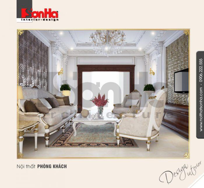1.Thi công nội thất biệt thự cổ điển dành cho phòng khách