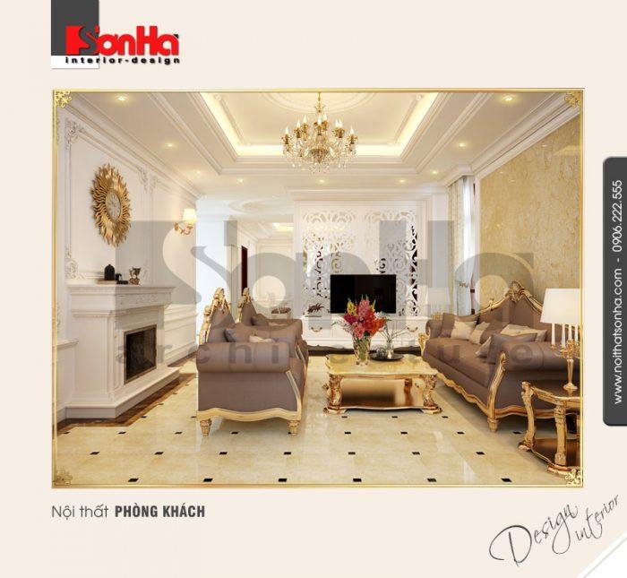 1.Thiết kế nội thất cổ điển cho phòng khách sang trọng