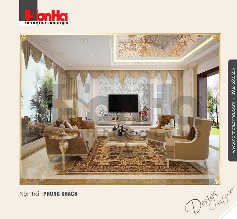 1.Thiết kế nội thất cổ điển dành cho phòng khách sang trọng