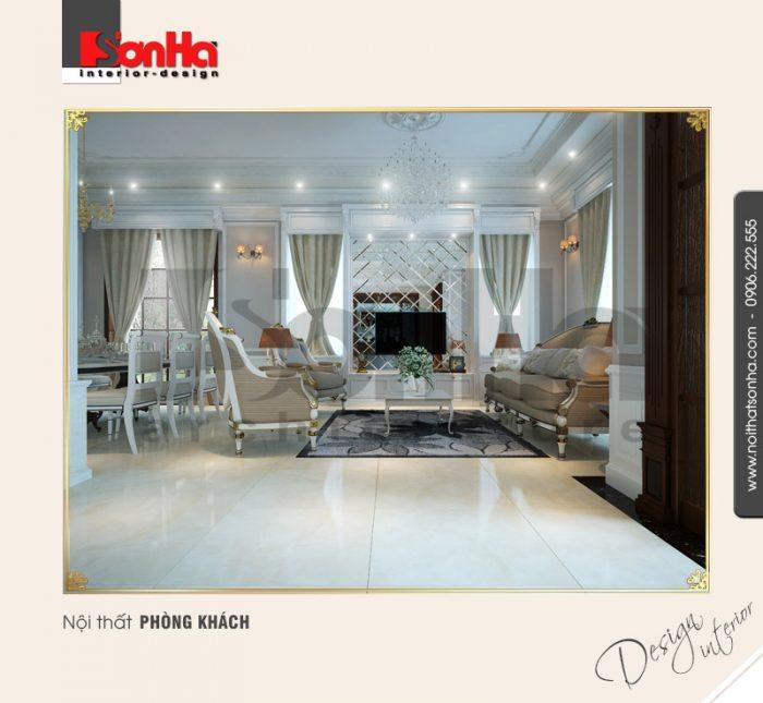 1.Thiết kế nội thất phòng khách biệt thự cổ điển tại Quảng Ninh