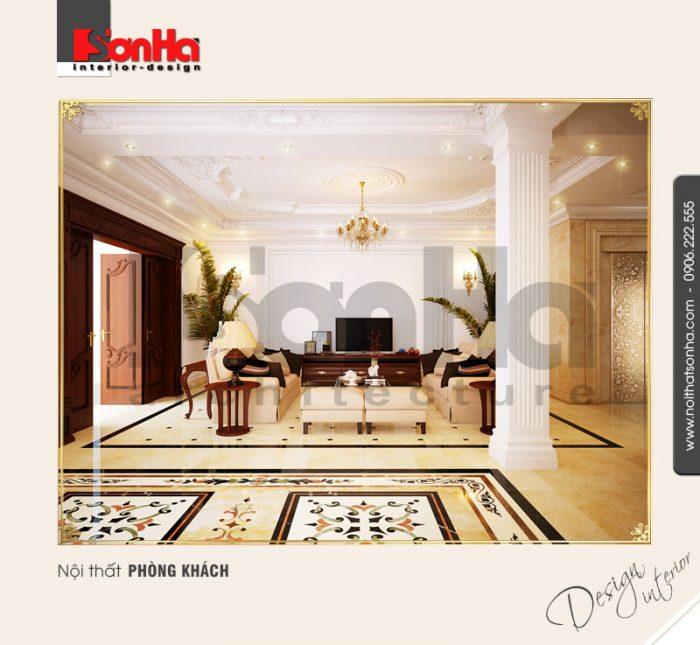 1.Thiết kế nội thất phòng khách biệt thự phong cách cổ điển